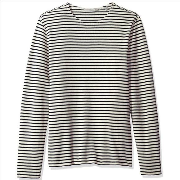 Vince Raw Edge Stripe Long Sleeve Crew Shirt